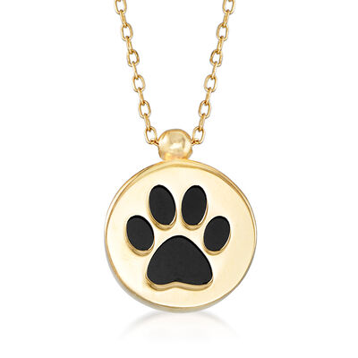 Italian Black Onyx Paw Print Necklace in 14kt Yellow Gold, , default