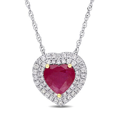 1.40 Carat Ruby and .25 ct. t.w. Diamond Heart Necklace in 14kt Two-Tone Gold