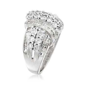 1.00 ct. t.w. Round and Baguette Diamond Ring in Sterling Silver, , default