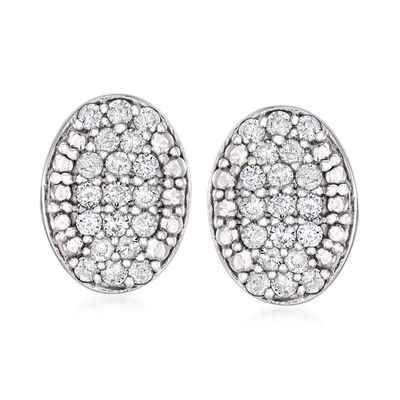 .50 ct. t.w. Diamond Oval Cluster Earrings in Sterling Silver