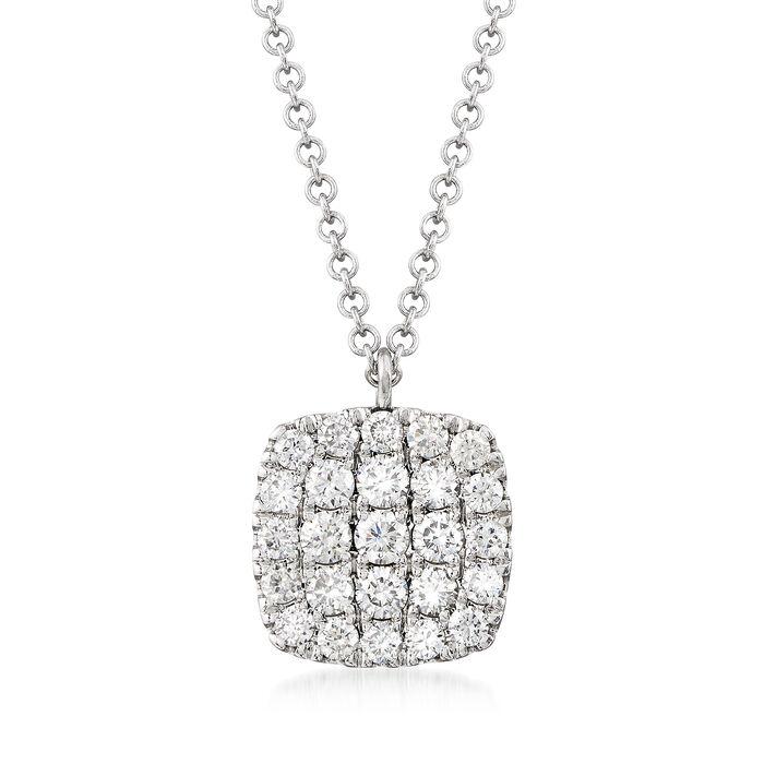 Gabriel Designs .50 ct. t.w. Diamond Square Pendant Necklace in 14kt White Gold