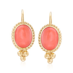 Bezel-Set Coral Drop Earrings in 14kt Yellow Gold , , default