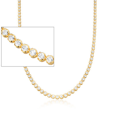 10.00 ct. t.w. Graduated CZ Tennis Necklace in 14kt Gold Over Sterling