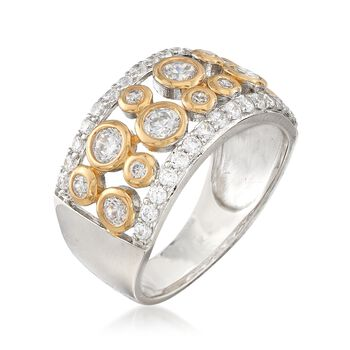 1.06 ct. t.w. CZ Open-Space Bubble Ring in Two-Tone Sterling Silver, , default