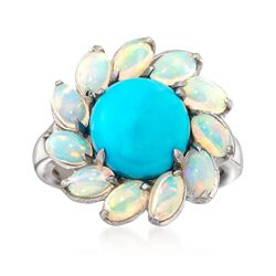 Sleeping Beauty Turquoise and Opal Ring in Sterling Silver, , default