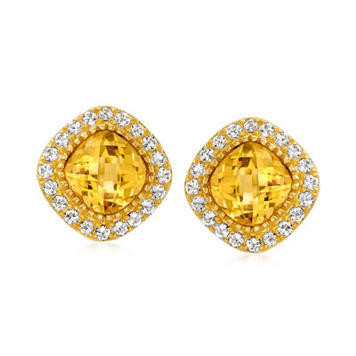 5.50 ct. t.w. Citrine and 1.60 ct. t.w. White Topaz Earrings in 18kt Gold Over Sterling