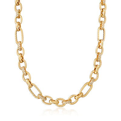 Italian 1.65 ct. t.w. CZ Link Necklace in 18kt Gold Over Sterling, , default