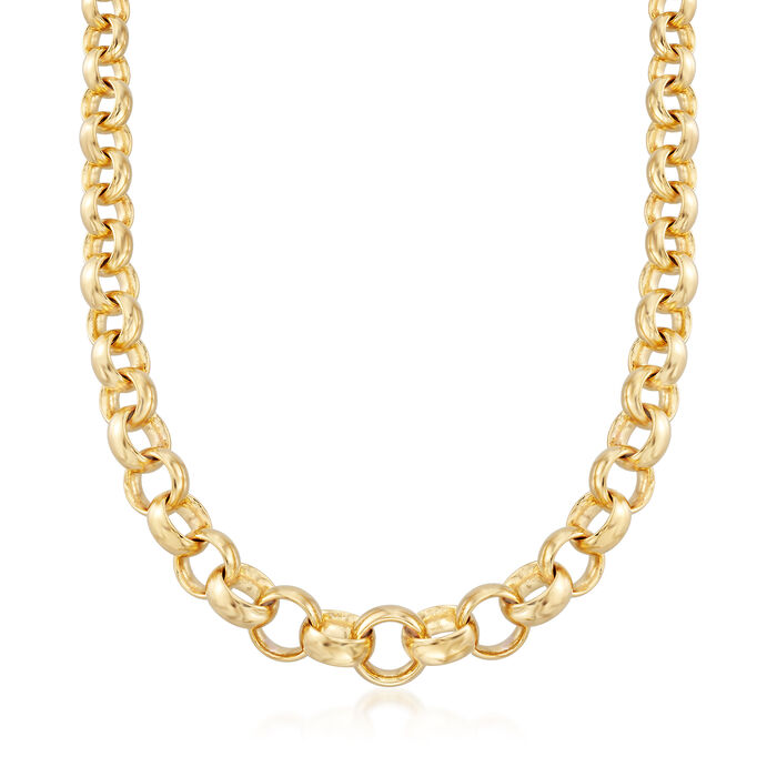 Andiamo 14kt Yellow Gold Graduated Link Necklace, , default