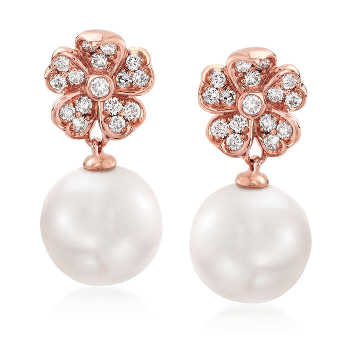 "Mikimoto ""Cherry Blossom"" 8mm A+ Akoya Pearl and .22 ct. t.w. Diamond Drop Earrings in 18kt Rose Gold"