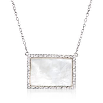 """Mother-Of-Pearl and .30 ct. t.w. CZ Necklace in Sterling Silver. 16"""", , default"""