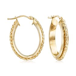 "Italian 14kt Yellow Gold Rope Textured Hoop Earrings. 7/8"", , default"