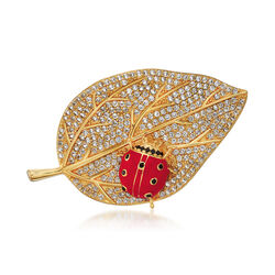 4.90 ct. t.w. White Topaz and Red Enamel Ladybug Leaf Pin With Black Spinel in 18kt Gold Over Sterling, , default