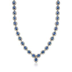 "C. 1980 Vintage 33.25 ct. t.w. Sapphire and 8.61 ct. t.w. Diamond Necklace in 14kt White Gold. 17"", , default"