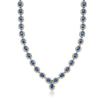 """C. 1980 Vintage 33.25 ct. t.w. Sapphire and 8.61 ct. t.w. Diamond Necklace in 14kt White Gold. 17"""", , default"""