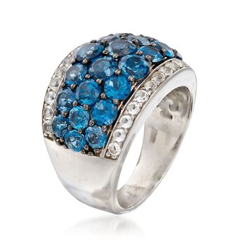 5.00 ct. t.w. London Blue and White Topaz Ring in Sterling Silver