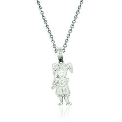 "Sterling Silver Diamond-Cut Baseball Girl Charm Necklace. 18"", , default"