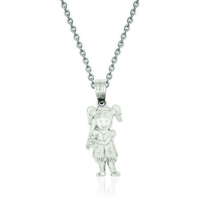 "Sterling Silver Diamond-Cut Baseball Girl Charm Necklace. 18"", , default"