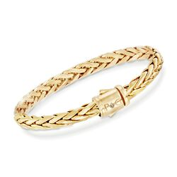 "Phillip Gavriel ""Woven Gold"" 14kt Yellow Gold Rounded Braid Link Bracelet, , default"
