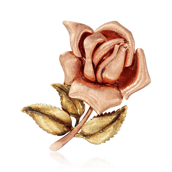 C. 1990 Vintage 14kt Two-Tone Gold Rose Pin