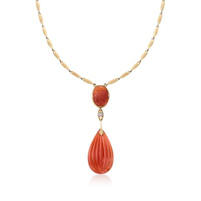 C. 1935 Vintage Carnelian Drop Necklace with Diamond Accents in 14kt Yellow Gold, , default