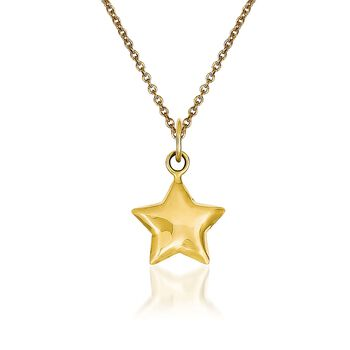 """14kt Yellow Gold Star Pendant Necklace. 18"""", , default"""