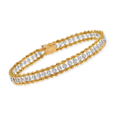 C. 1980 Vintage 1.00 ct. t.w. Diamond Bracelet in 14kt Yellow Gold