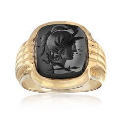 C. 1980 Vintage Hematite Ring in 14kt Yellow Gold, , default