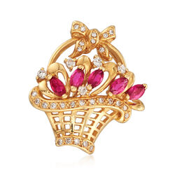 C. 1980 Vintage .75 ct. t.w. Ruby and .40 ct. t.w. Diamond Basket Pin in 18kt Yellow Gold, , default