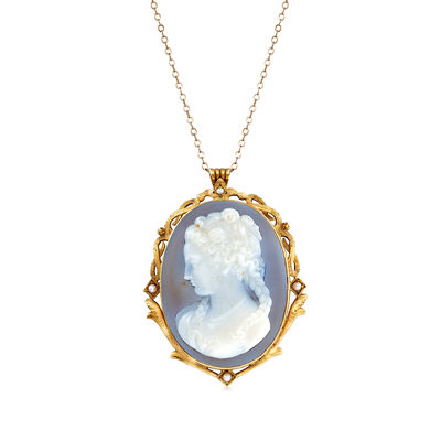 C. 1940 Vintage Gray Agate Cameo Pendant Necklace in 14kt Yellow Gold, , default