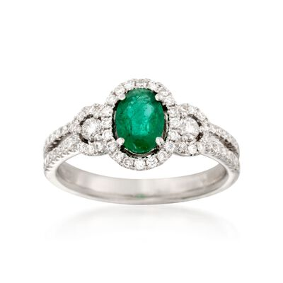 .80 Carat Emerald and .50 ct. t.w. Diamond Ring in 18kt White Gold, , default