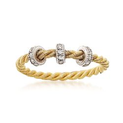 Italian .25 ct. t.w. CZ Roped Station Ring in Two-Tone Sterling Silver. Size 7, , default