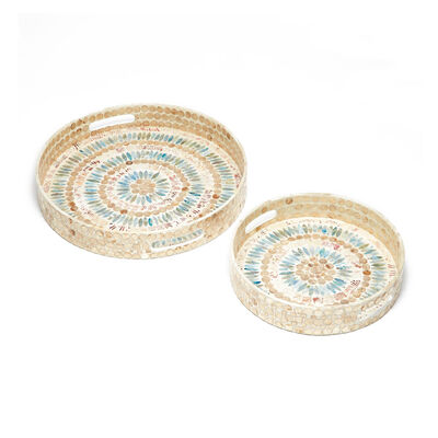 Set of 2 Palawan Flower Mother-Of-Pearl Mosaic Round Trays, , default