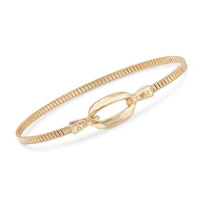 Italian 18kt Gold Over Sterling Open Oval Bangle Bracelet, , default