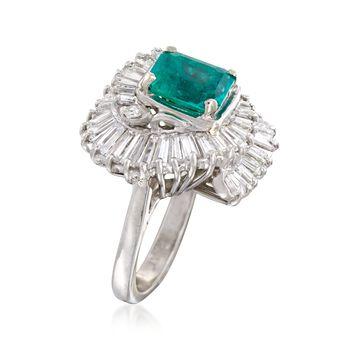 C. 1980 Vintage 1.35 Carat Emerald and 2.10 ct. t.w. Diamond Ballerina Ring in Platinum. Size 6, , default