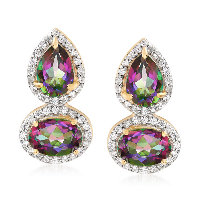 3.40 ct. t.w. Multicolored Topaz and .30 ct. t.w. White Zircon Drop Earrings in 18kt Gold Over Sterling, , default