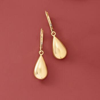 Italian 18kt Yellow Gold Teardrop Earrings