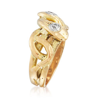 C. 1950 Vintage .12 ct. t.w. Diamond Twisted Snake Ring in 18kt Yellow Gold. Size 8, , default