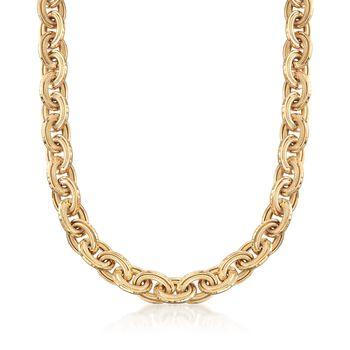 18kt Gold Over Sterling Oval-Link Necklace, , default