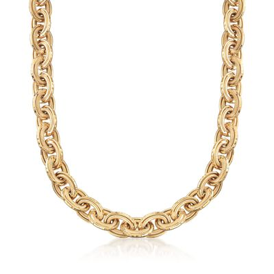 18kt Gold Over Sterling Oval-Link Necklace, , default
