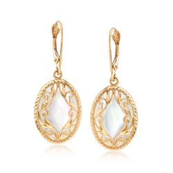 Mother-Of-Pearl and 14kt Yellow Gold Drop Earrings, , default