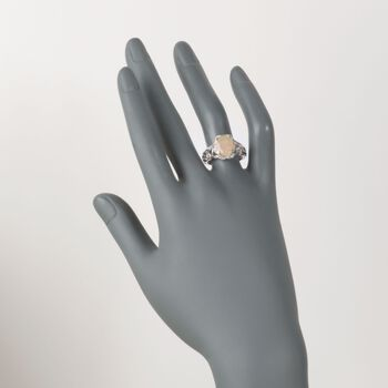Opal and 2.10 ct. t.w. White Topaz Openwork Ring in Sterling Silver