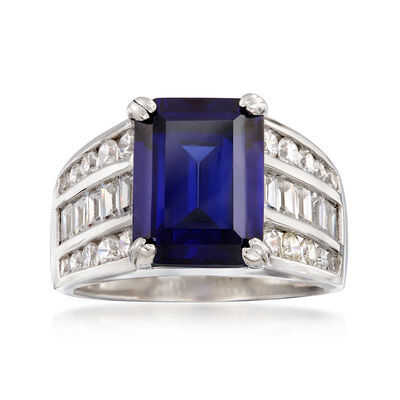 Simulated Tanzanite and 1.45 ct. t.w. CZ Multi-Row Ring in Sterling Silver, , default
