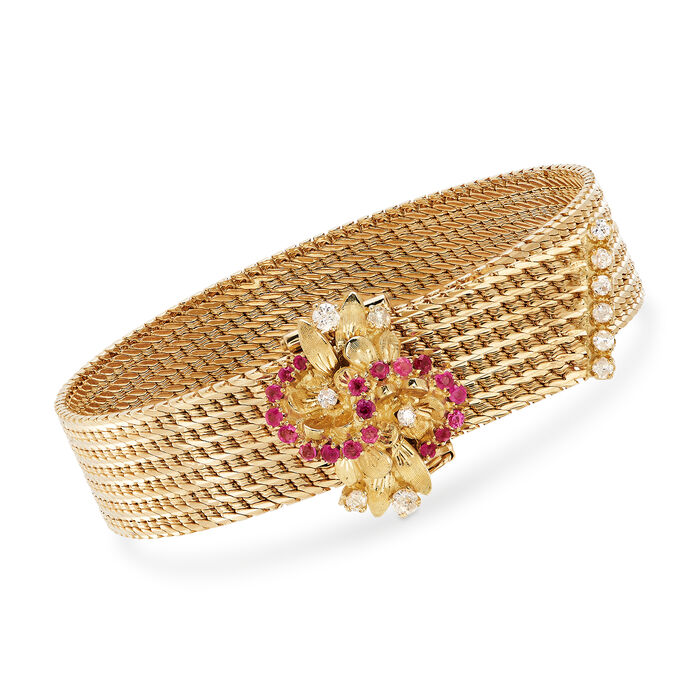 """C. 1980 Vintage .50 ct. t.w. Ruby and .45 ct. t.w. Diamond Cluster Mesh Bracelet in 18kt Yellow Gold. 7.5"""", , default"""