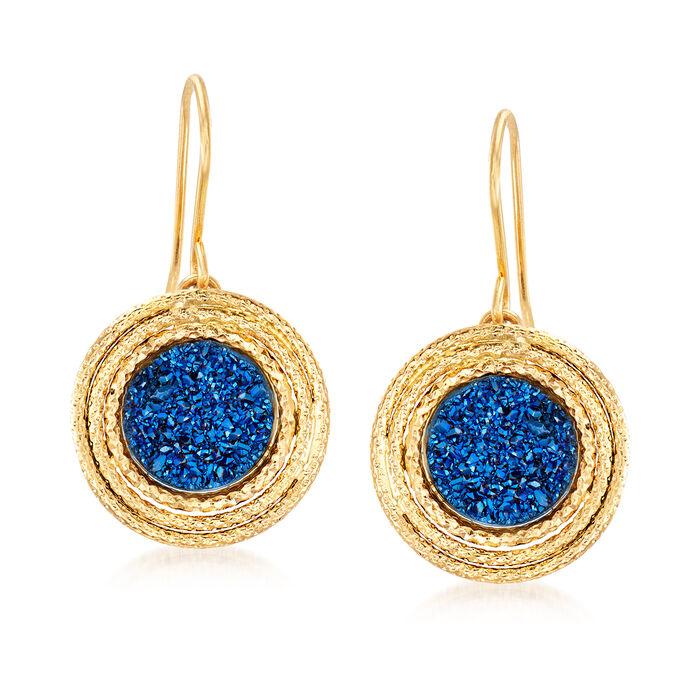 Italian Blue Drusy Earrings in 14kt Yellow Gold