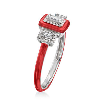 .25 ct. t.w. Diamond Ring with Red Enamel in 18kt White Gold. Size 7