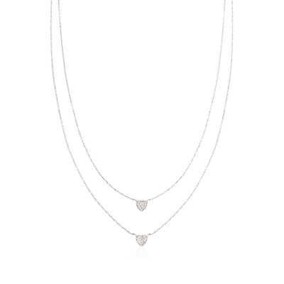 .20 ct. t.w. Pave CZ Layered Heart Necklace in Sterling Silver, , default