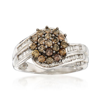 C. 1990 Vintage 1.20 ct. t.w. Champagne and White Diamond Cluster Ring in 10kt White Gold, , default