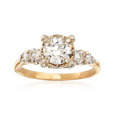 C. 1970 Vintage 1.10 ct. t.w. Diamond Engagement Ring in 14kt Yellow Gold, , default