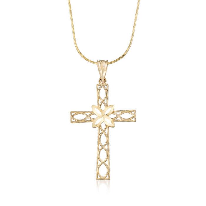14kt Yellow Gold Diamond-Cut Openwork Cross Pendant Necklace, , default