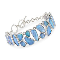 "Multi-Shaped Blue Opal Doublet Mosaic Bracelet in Sterling Silver. 7"", , default"